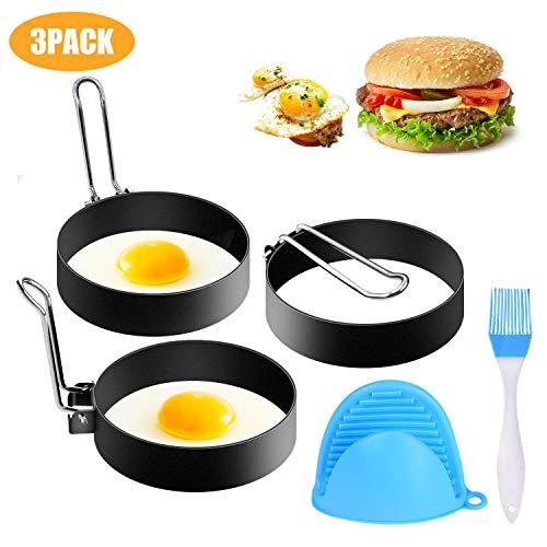 SYOSIN 3 Stück Spiegeleiformen, Pancake Form Edelstahl Antihaft Pfannkuchen Form Spiegeleiform für Bratpfanne Eierformer Einstellen