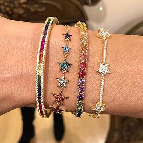 JIUXIAO Pulsera de Cadena esclava de Estrellas de Cristal de circonita para Mujer, Pulseras con dijes de Estrellas de Color Plateado con Dedos a Mano, Pulsera Delicada