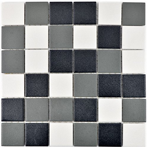 rutschsichere Duschtasse Duschwand Bodenfliese Keramik Mosaik rutschhemmend schwarz weiß grau | 10 Mosaikmatten