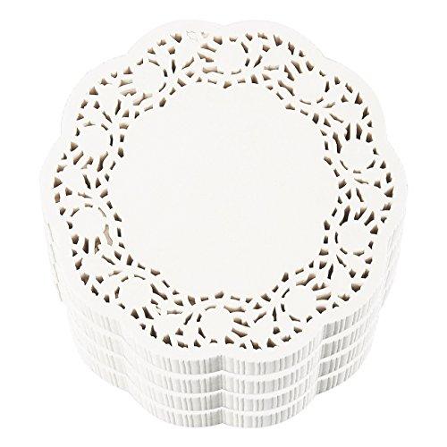 Juvale Tapetes de papel de encaje redondo (paquete de 1000) Manteles individuales de papel decorativo a granel para postres y...