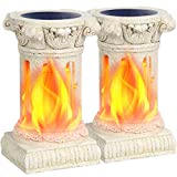 TomCare Solar Lights Outdoor Flickering Flame Solar Lantern Outdoor Decorative Ancient Roman Pillars Resin Waterproof Auto On/Off Outdoor Decoration Lighting for Deck Yard Garden Porch, 2 Pack