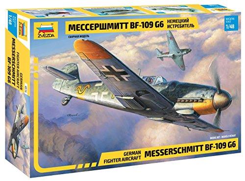 Zvezda 500784816 500784816-1:48 messenschmitt Bf-109 G6-plastic bouwpakket, modelbouwpakket, montageset voor beginners, camouflage