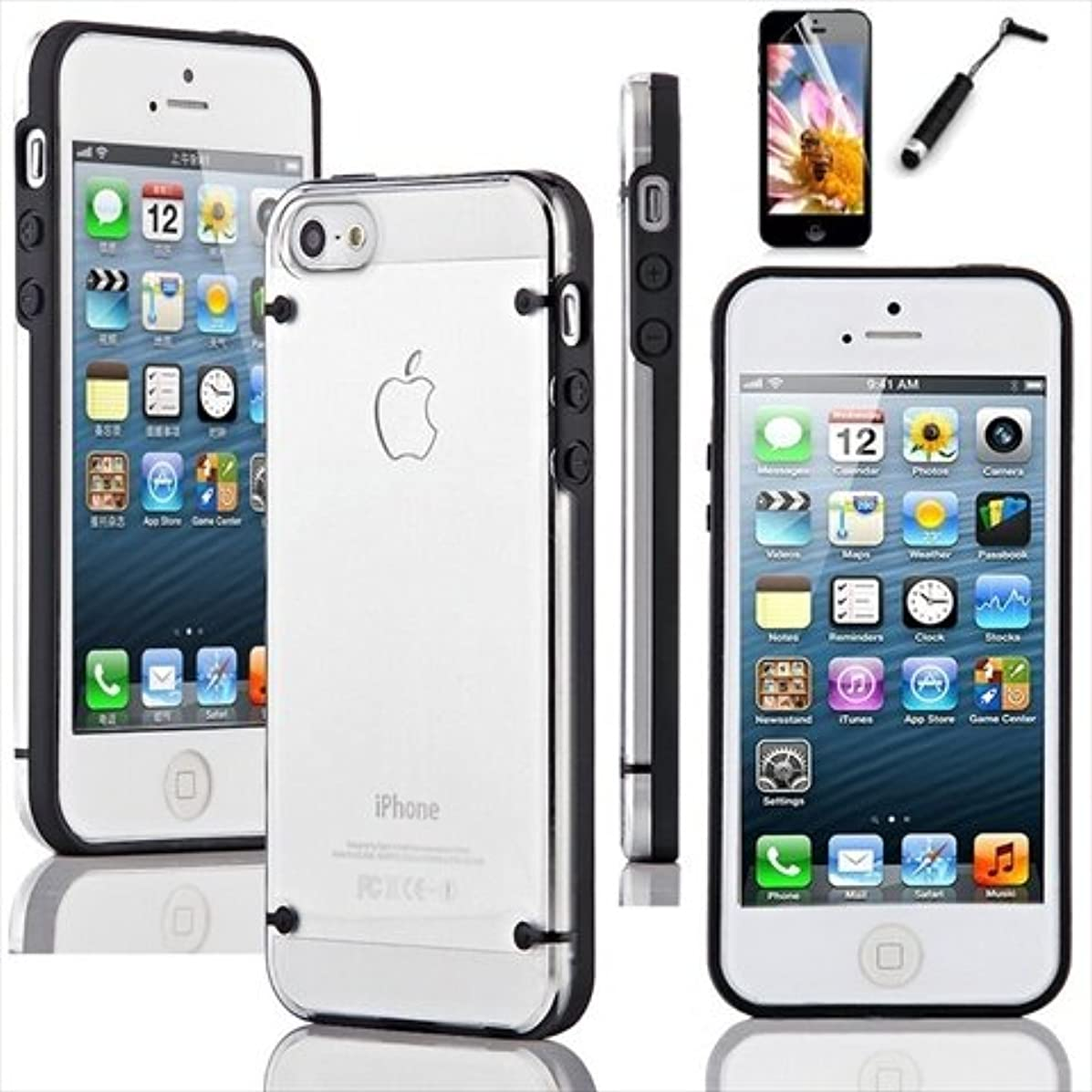 TCD Black iPhone 5 5S Ultra Thin Transparent Crystal Clear Hard TPU Case Cover