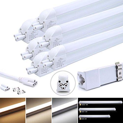 6x LED Leuchtstofflampe, Auralum T5 G5 90CM 12W 1100LM recycelbare Röhre Leuchtstoffröhre mit Fassung, für Tandem-Betrieb geeignet, Energiesparlampe in kaltweiß