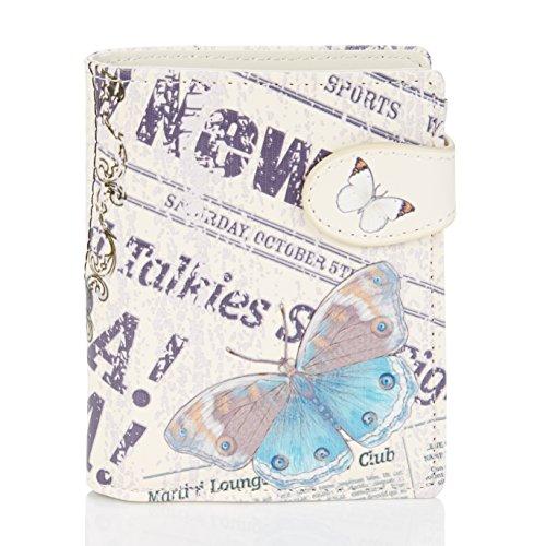 Shagwear ® Portemonnaie Geldbörse Damen Geldbeutel Mädchen Bifold Mehrfarbig Portmone Designs: (Vintage Zeit Stück/Vintage Time Piece)