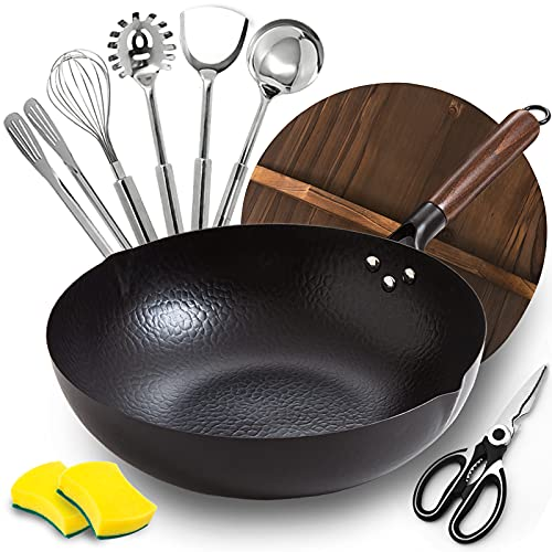"""BrBrGo Wok Pan, 13"""" Carbon Steel Wok with Wooden Handle, Flat Bottom Chinese Stir Fry Wok, 10 Pieces Set with Cooking Utensils, Frying Pan for All Stoves"""