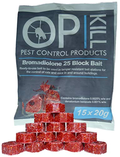 Opkill Rat Poison & Mouse killer - 300g Strongest Bait Available Weatherproof Fast acting and Safe for Professional and Domestic use (Professional Choice Blocks 15 x 20g)