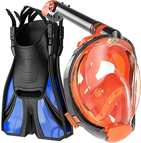 cozia design Snorkel Set Adult - Full Face Snorkel Mask and Adjustable Swim Fins for Lap Swimming,...