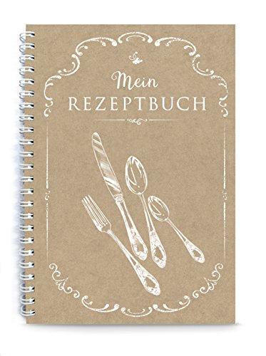 """Rezeptbuch zum Selberschreiben KOCHBUCH\""""Mein Rezeptbuch\"""" Besteck BRAUN NATUR ECHTES KRAFTPAPIER • liniert, DIN A5, Spiralgebunden • INHALTSVERZEICHNIS & SEITENNUMMERIERUNG DESIGN BY fioniony®"""