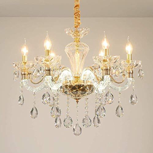 BBZZ, lampada da soffitto, stile europeo, lampadario di cristallo per sala da pranzo, camera da letto, lampada luminosa a candela creativa, atmosfera di villa Hall, 10,6 teste