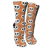 ouyjian Unisex Colorful Patterned Socks Compression Socks for Skulls Orange Creepy Scary Kooky October Crew Socks