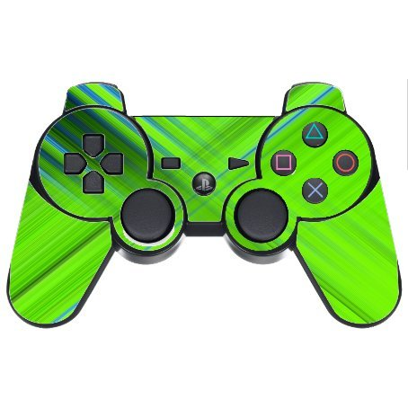 Green Lime Green Crossing Pattern Vinyl Decal Sticker Skin by Moonlight Printing for PS3 Dual Shock wireless controller