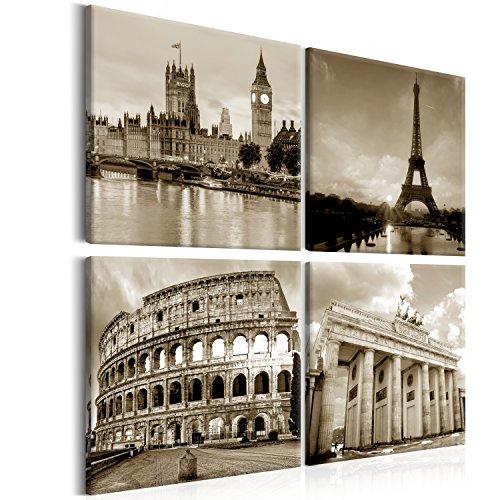 murando - Bilder Stadt 80x80 cm Vlies Leinwandbild 4 Teilig Kunstdruck modern Wandbilder XXL Wanddekoration Design Wand Bild - City Paris London Berlin Sepia d-B-0174-b-i