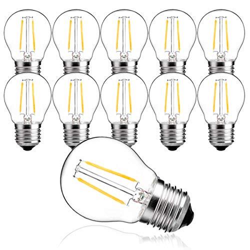MZYOYO Bombilla LED E27,2 W LED E27, luz blanca cálida, 2700 K, 100 lúmenes, bombilla de filamento de 10 W, bombilla G45 Edison vintage, no regulable, paquete de 10 unidades