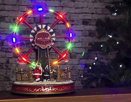 HomeZone Animiertes Weihnachtslied, Riesenrad, Dorf, Weihnachtskrippe, Weihnachtsdekoration, mit farbwechselnden LED-Weihnachtslichtern und Geräuschen, batteriebetrieben