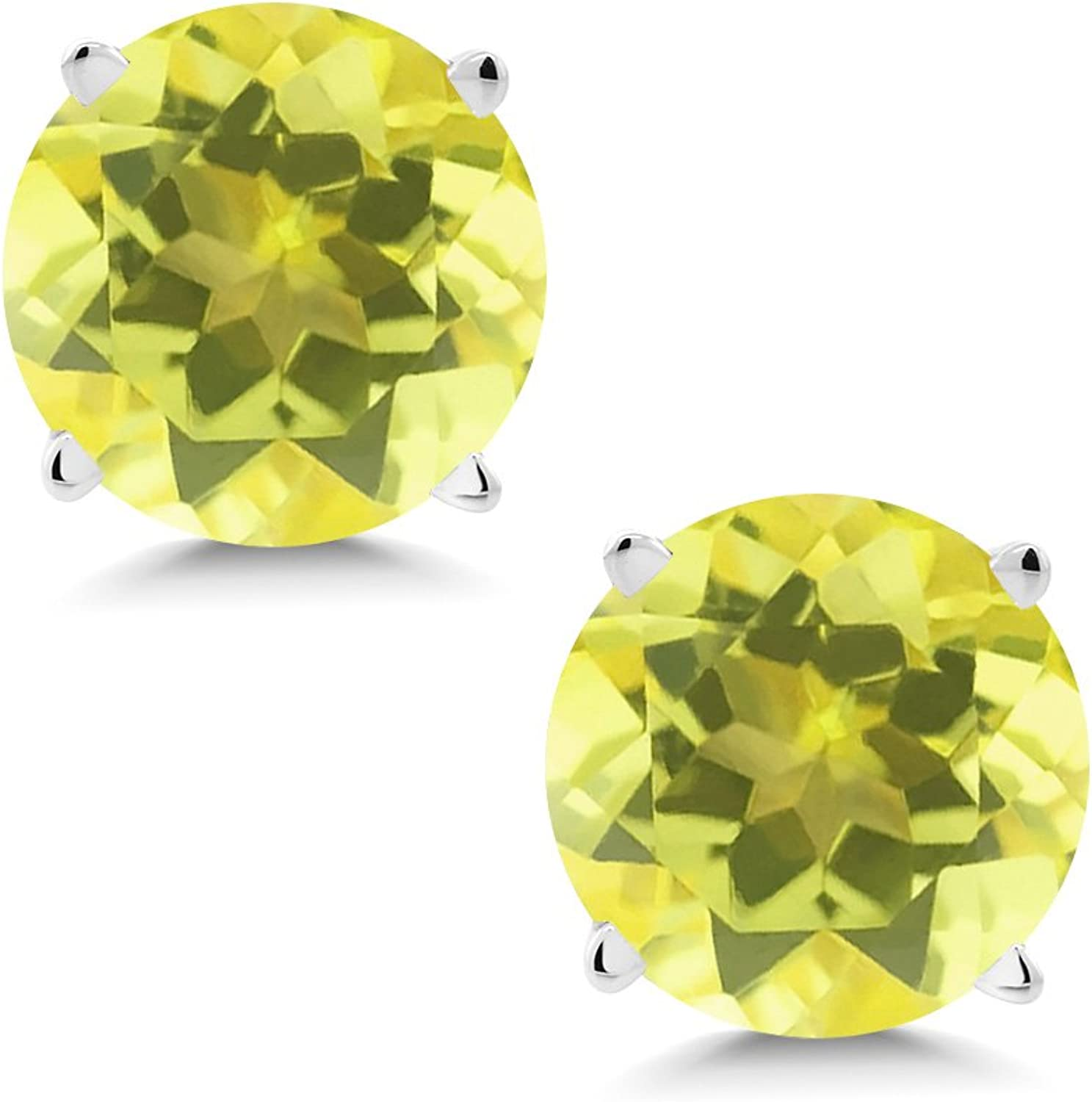 2.00 Ct Round 6mm Canary Mystic Topaz 14K White gold Stud Earrings