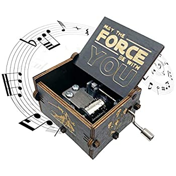 Star Wars Music Box,Wooden Hand Crank Unique Musical Boxes Theme Starwars Mini Antique Vintage Craft Laser Engraved Home Decorations for Christmas Wedding Valentines Birthday Gifts Black