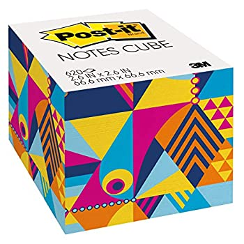 Post-it Notes Cube 2.6 in x 2.6 in Optimistic Brights Pattern 620 Sheets/Cube  2027-OBRT