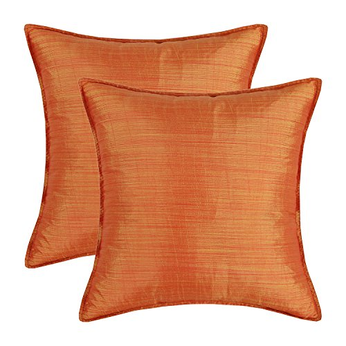 CaliTime Pack of 2 Silky Throw Pillow Covers Cases for Couch Sofa Bed Modern Light Weight Dyed Striped 20 X 20 Inches Orange