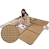 Alfombras de Verano Tatami japones,Alfombra Salon Grande,Dormitorio Rattan alfombras de Bambu,Niños Crawling Mat,Alfombra al Aire Libre, Marrón