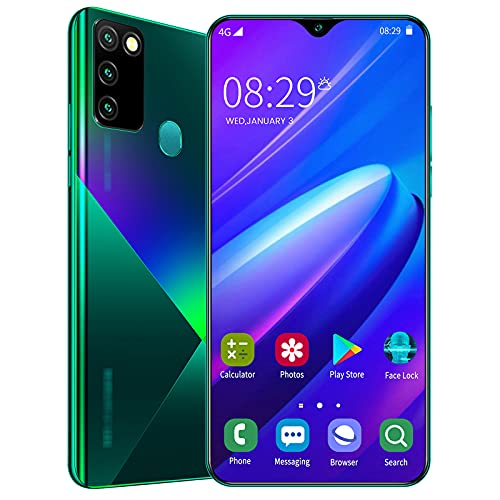 lei shop Teléfono Pantalla Completa de 6.6 Pulgadas,Dual SIM+mSD,4GB+128GB,Cámara de 16 MP+32 MP,Face ID,Huella Digital,Batería de Gran Capacidad de 5000mAh.