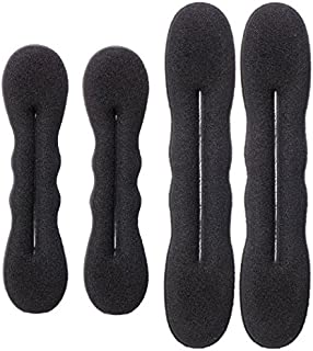 4Pieces(2Large+2Small) Women Hair Styler Magic Foam Sponge Donut Maker Ponytail Bun Twister Tie Hair Clip Styling Party Ac...