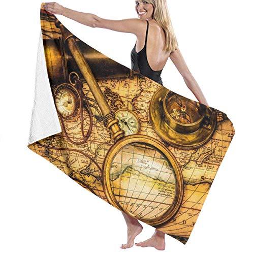 asdew987 Toallas de playa para mujeres y hombres pirata marinero mapa náutico brújula toallas de baño de secado rápido multiusos viaje manta de piscina grande 76 x 158 cm