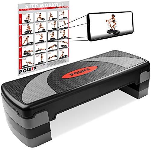 POWRX Step fitness aeróbic escalón XL (80 x 30 cm) - Stepper ideal para ejercicios en casa y gimnasio - Altura regulable y superficie antideslizante + PDF workout (Negro Gris)