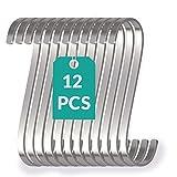 12 Ganchos en S Planos de Acero Inoxidable - Pequeños 8cm - Soportan hasta 25kg - Gancho en Forma de Ese para Colgar