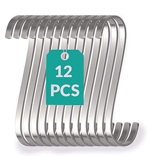 12 Kleine S Haken Edelstahl Flach 8cm - bis 25kg Belastbar - Rostfreie S-Haken zum Aufhängen