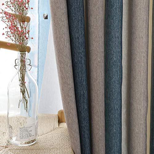 Blauw gestreepte verduisteringsgordijnen voor woonkamer Bruine mediterrane tule + gordijn voor slaapkamerraam luxe organza vitrage, blauwe gordijnen, B250cm x H270cm