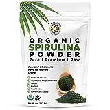 Earth Circle Organics   Organic Spirulina Powder, Kosher, Raw and Non-Irradiated   Pure Vegan Protein   Premium Superfood, High in Amino Acids and Antioxidants