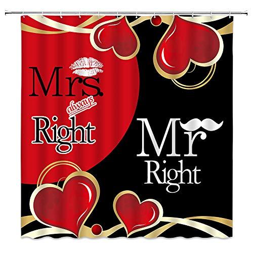 LAEDCIITI Mr Mrs Cortina de ducha creativa y divertida cita Mr Right Mrs Always Right Sexy Black Red Love Lip Romance Geometría Rayas Patchwork Día de San Valentín Cortina de baño de 188 cm