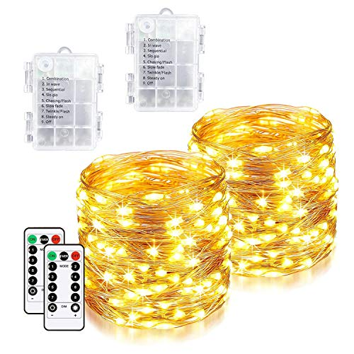 [2 Pack]Christmas Lights 240 LED 85ft Fairy Lights Battery, Indoor Outdoor Christmas Tree Lights String Lights, Outside Lights for Xmas/Home/Party/Christmas Decorations-Warm White