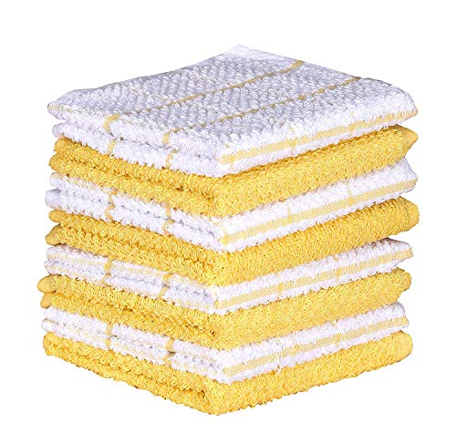 AMOUR INFINI Cotton Terry Kitchen Dish Cloths | Set of 8 | 12 x 12 Inches | Super Soft and Absorbent |100% Cotton Dish Rags | Perfect for Household and Commercial Uses | Yellow