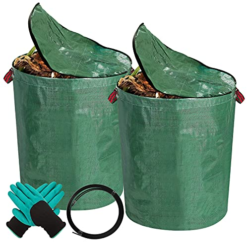 YBB 2 Pack 72 Gallons Reusable Garden Waste Bags with Lid, Heavy Duty Yard Lawn Gardening Leaf Bags with Glove