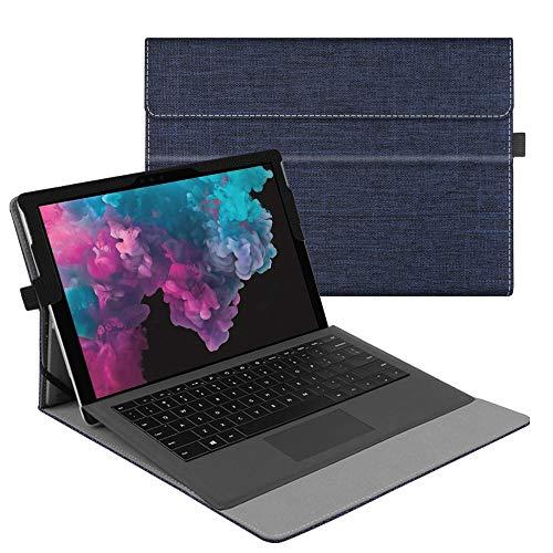 Fintie Hülle für Microsoft Surface Pro 7+/ Pro 7/ Pro 6/ Pro 5/ Pro 4/ Pro 3 12,3 Zoll Tablet - Multi-Sichtwinkel Hochwertige Tasche Schutzhülle aus Kunstleder, Type Cover kompatibel, Stoff indigoblau