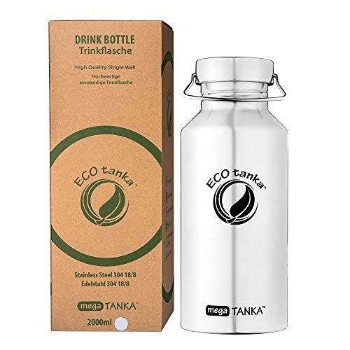 ECOtanka megaTANKA Trinkflasche aus Edelstahl 2 Liter auslaufsicher - Wasserflasche BPA frei… (Edelstahl Wave Verschluss)