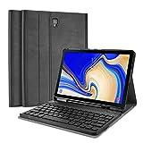 ProCase Funda con Teclado Americano para Galaxy Tab S4 10.5, Carcasa Delgada con Tapa Ingeligente y Teclado Inglés Inalámbrico Desmontable para Samsung Galaxy Tab S4 10.5' SM-T830 T835 T837 -Negro