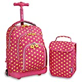 J World New York Kids' Lollipop Rolling Backpack With Lunch Self-Magnetic Sparkling Wheel...