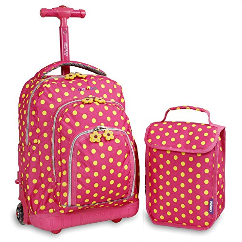 J World New York Kids' Lollipop Rolling Backpack & Lunch Bag Set, Pink Buttons, One Size
