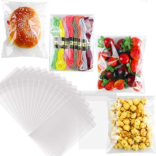 """NEOACT 300 PCS 5""""x7"""" Clear Resealable Cellophane Bags Good for Bakery, Candle, Soap, Cookie Poly Bags."""