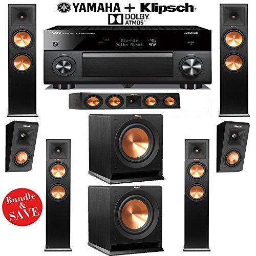 Check Out This Klipsch RP-280FA 5.2.2 Dolby Atmos Home Theater System with Yamaha RX-A3060BL 11.2-Ch...