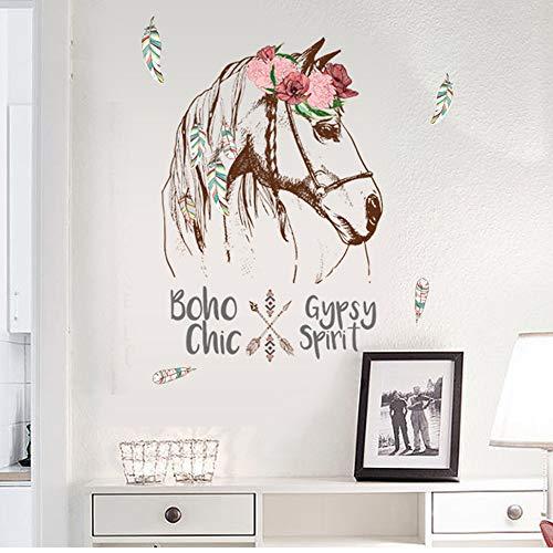 Sencillo Vida Pegatinas de pared vinilo Caballo Colorido adhesivo decorativo para las niñas habitación de niño Wall Stickers salón dormitorio TV fondo Inicio