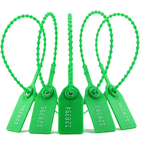100 Pull Tight Anti-Tamper Numbered Plastic Security Fire Extinguisher Tag Self-Locking Election Box Safety Ties (Green)