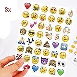 Upsky Emoji Sticker Pack,Emoji Aufkleber Für Telefon-Laptop Dekor,8 Blätter