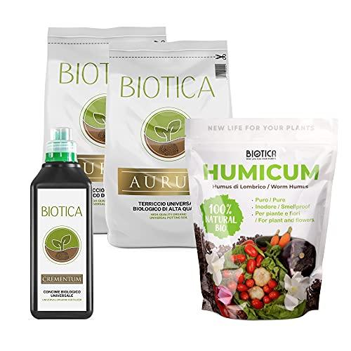 BIOTICA BOX - Kit per giardinaggio, contiene Terriccio naturale di alta qualità, Concime biologico universale, Humus di Lombrico 100% naturale - Disponibile in più formati (PARVUS)