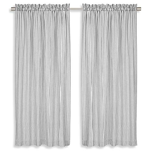 Cackleberry Home Black and White Ticking Stripe Woven Cotton Panel Curtains 54 Inches W x 63 Inches L, Set of 2