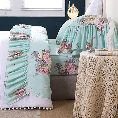 Queen's House 4-Piece Shabby Green Bed Sheet Sets Cotton King Size-Style K