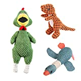 Qucey Plush Dog Squeaky Toys for Small Dogs, 3 Pack Plush Dog Chew Toys Sets, Include Interactive Cute Plush Screaming Chicken, Squeaky Goose and Squeaky Dinosaur
